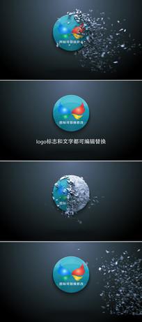 圆形石块碎片化企业logo标志显示ae模板