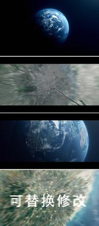 地球从太空穿梭缩放到地面ae模板