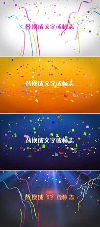 多组彩带飘落节日庆祝logo标志片头模板