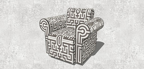 中式图案单人沙发