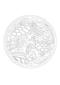 海龟雕刻纹样