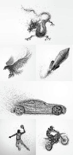 动感速度粒子设计元素素材