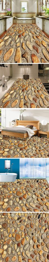 鹅卵石3D立体地板地砖地画