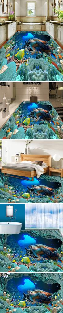 海底世界海龟3D立体地板地砖地画