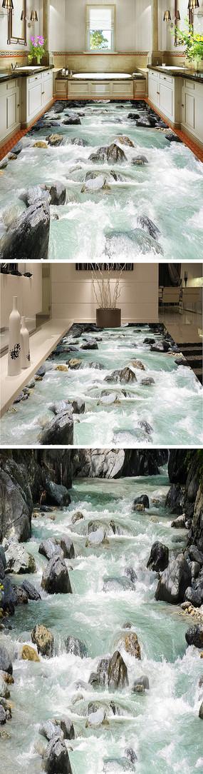 山涧溪流石头3D立体地板地砖地画