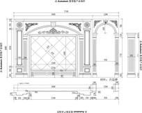 欧式雕花欧式家居客厅大理石罗马柱玉石电视背景CAD设计图