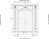 欧式风格欧式线条罗马柱家居客厅大理石玉石电视背景CAD设计图