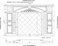 欧式新款罗马柱雕花家居客厅大理石玉石电视背景CAD设计图