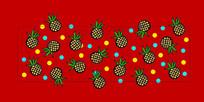 菠萝拼纸图案产品标贴设计