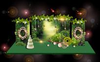 森系绿色婚礼背景板