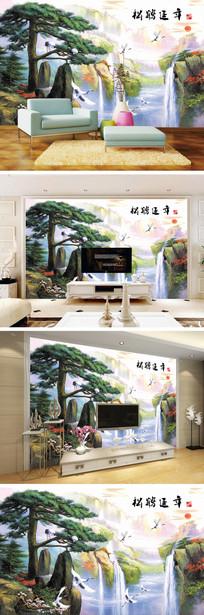 松鹤延年迎客松瀑布电视背景墙