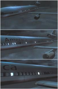 万米高空飞机暴风雨中飞行视频