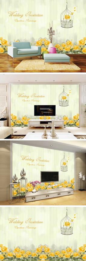 现代简约手绘花朵电视背景墙