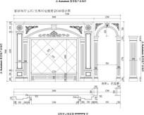 大厅欧式雕花电视背景CAD图