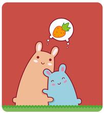 可爱的卡通小动物两只小兔插画