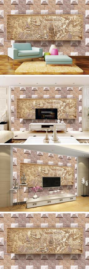 3D立体木雕清明上河图背景墙