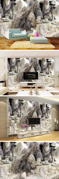 3D立体玉雕山水背景墙