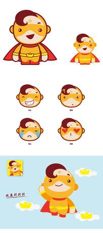 黄金侠卡通形象及表情矢量设计