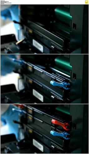 放置打印机墨盒实拍视频素材