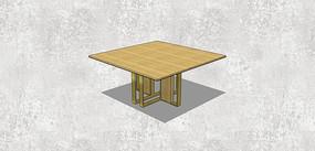 方形木制餐桌SU模型