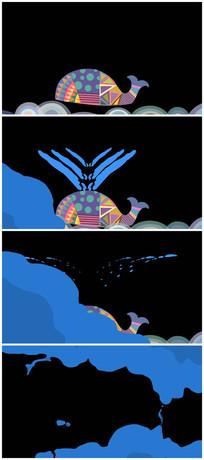 卡通鲸鱼喷水转场