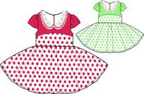 可愛女童公主裙矢量款式圖