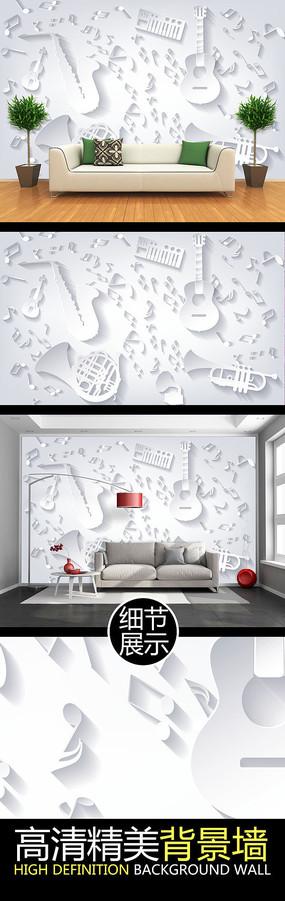 微立体浮雕音乐元素矢量背景墙