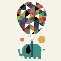 可爱的卡通小动物象的矢量插画