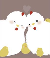 可爱卡通小动物鸡矢量插画