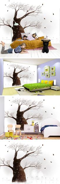 冬天大树树叶背景墙