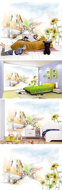 卡通街道向日葵背景墙