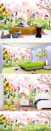 卡通桃花风车蝴蝶背景墙