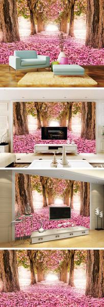 浪漫樱花大道大树背景墙