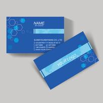 蓝色六边形装饰名片设计