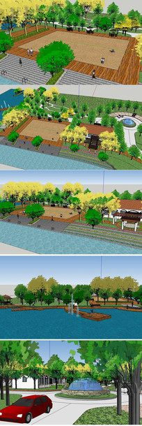 湿地生态景观草图大师模型