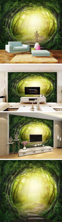 唯美树洞背景墙