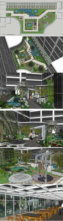 中庭景观草图大师SKP模型