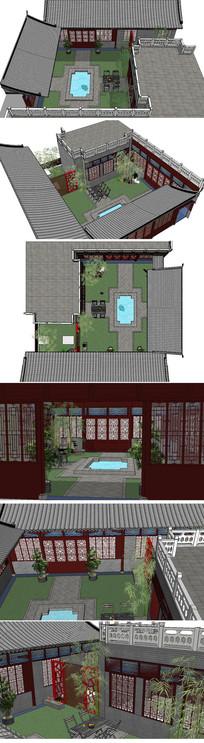 中庭景观模型skp模型