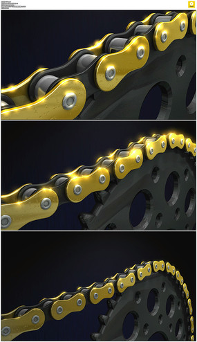 转动的链条动态视频素材