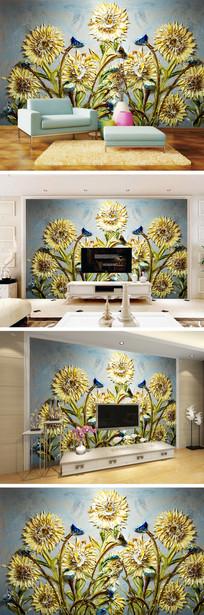 刀画向日葵背景墙