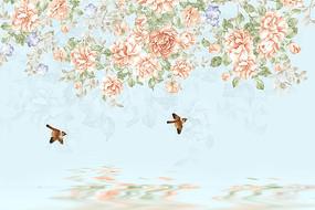 复古欧式手绘花鸟背景墙壁画