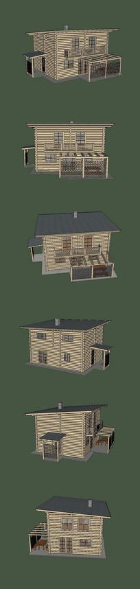 两层住宅木房子SU模型