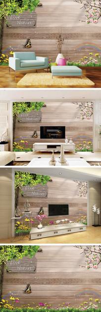桃花蝴大树木纹背景墙