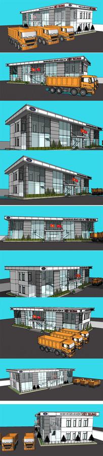 现代展示馆展览馆建筑模型