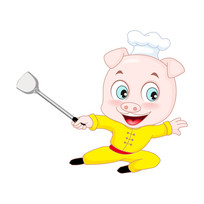 小猪拿着锅铲练功夫卡通形象