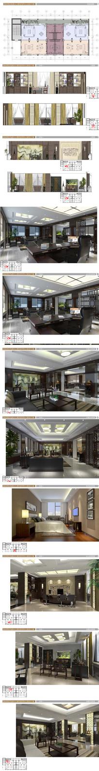 中式办公室SU模型施工图