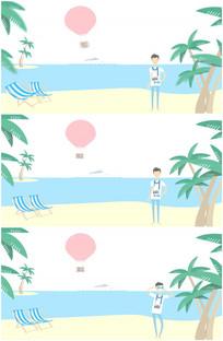 卡通夏威夷大海边沙滩拍照视频