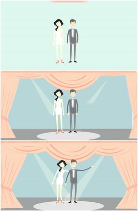 卡通新人婚纱西服舞台亮相视频