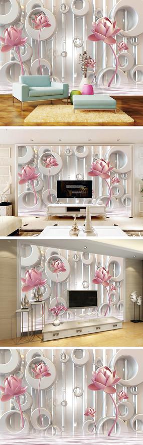 3D立体彩雕荷花背景墙