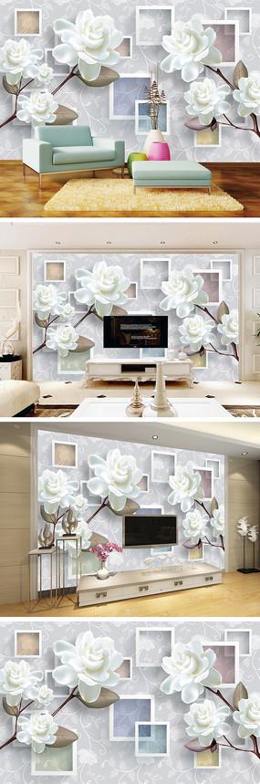 3D立体彩雕花朵底纹背景墙